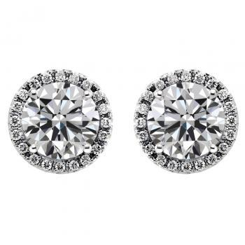 handmade entourage earrings with low halo set brilliant cut diamonds surrounded by smaller diamonds and alpa systems