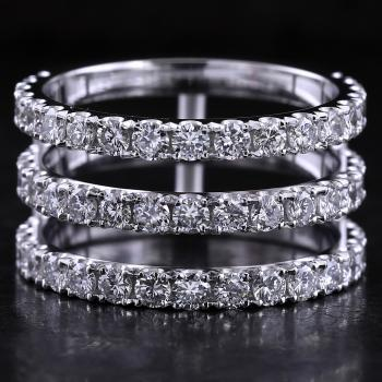 wedding duo-band castle set with brilliant cut diamonds and below attached with small rounded bars for an engagement ring