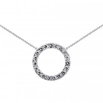 necklace with a circle castle set with one row of brilliant cut diamonds