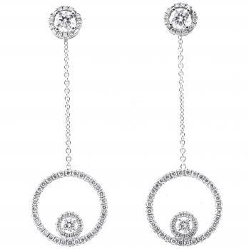 "earrings ""Juliana"" entourage setting which a large removable pavé set circle with a central brilliant at the bottom"