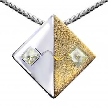 "diamond pendant ""Two Fysici"" with two rough octahedral fine sawable diamonds connected to a sinusoidal signal"