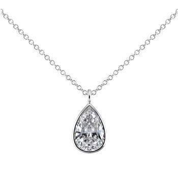 solitaire necklace with a pear shaped diamond set into a pot with a very fine thin edge attached to a chain