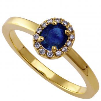 entourage ring with an oval sapphire surrounded by brilliant cut diamonds on top of a flatter unset band