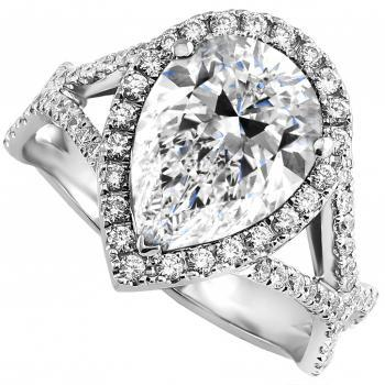 entourage ring with pear shaped surrounded by brilliant cut diamonds on a lower braided band