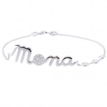 Bracelet with a nameplate which a character set with brilliant cut diamonds and 3 diamonds in donuts or small rings