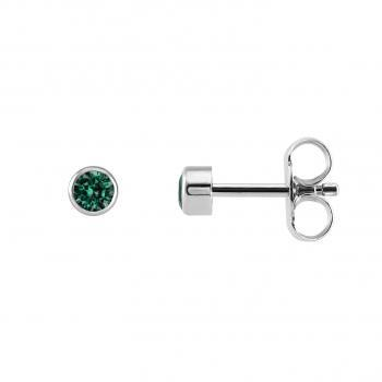 earrings with a round cut emerald bezel set in a pot with a thin border