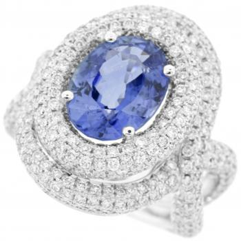halo ring sapphire in oval ring with twisted shank