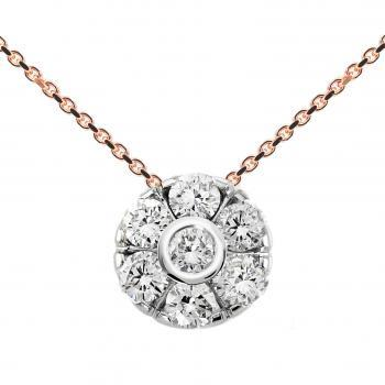 necklace with a flower shaped pendant with the central brilliant cut diamond in a donut put