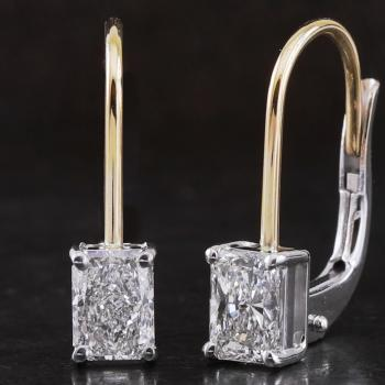 handmade solitaire earrings with radiant cut diamonds set with four gifs on a hook with clip system