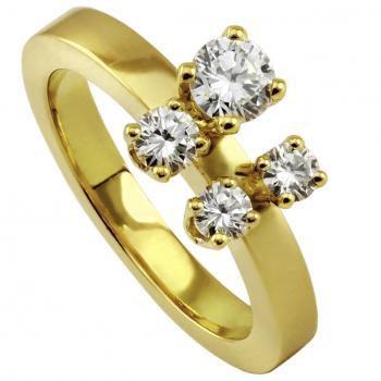 quad ring with four brilliant cut diamonds in a slim square setting on different heights