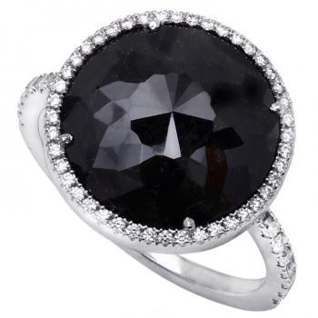 entouragering Tambuli cut colour enhanced Black diamond van 5.77ct omringd door witte briljant geslepen diamanten