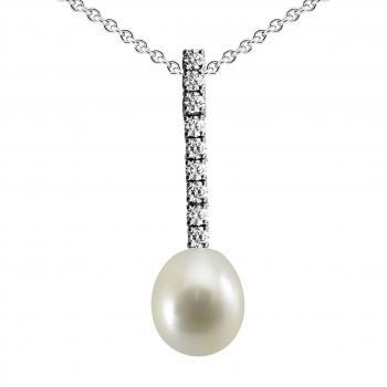 pearl pendant with a row of brilliant cut diamonds with a teardrop-shaped white cultured pearl