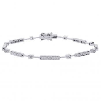 bracelet set with brilliant cut diamonds in bars and prongs