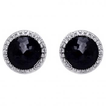 solitaire and entourage earrings with black rose cut like Tamguli cut central diamonds Assorti with HG0331BL/1500