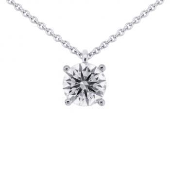 necklace with a solitaire pendant with a brilliant cut diamond attached to a very small loop