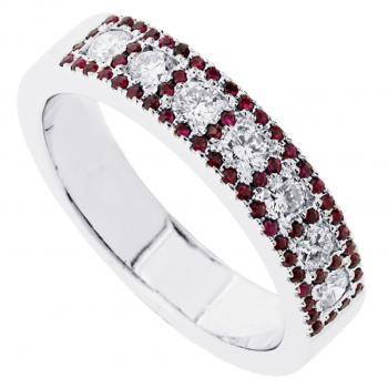 anniversary ring set with brilliant cut diamonds in a square surrounded with rubies