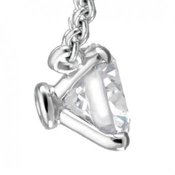 fine handmade necklace solitaire pendant with a brilliant cut diamond set with conic four claws