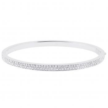 solid esclave bracelet with square profile and briljant cut diamonds in pavé setting on the top half
