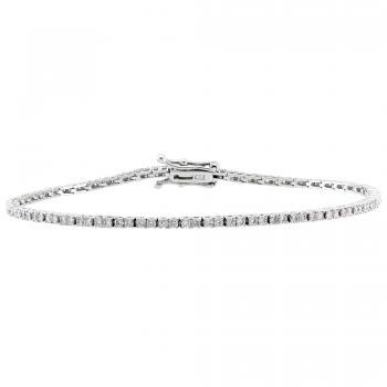 tennis bracelet set with brilliant cut diamonds in a 4 prong setting