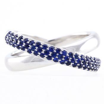 pavé ring crossed rounded set with sapphires