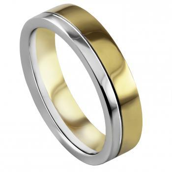 handmade wedding ring with an engraved line on one third of the border