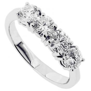 wedding ring with four brilliant cut diamonds