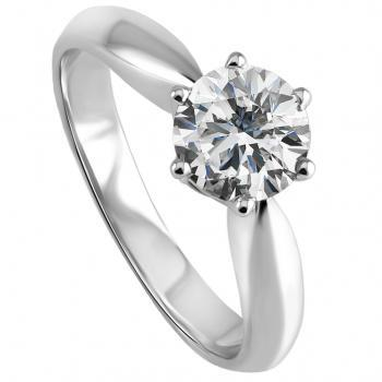 solitaire ring with a brilliant cut diamond set with six prongs mounted on a rounded roof shaped schank