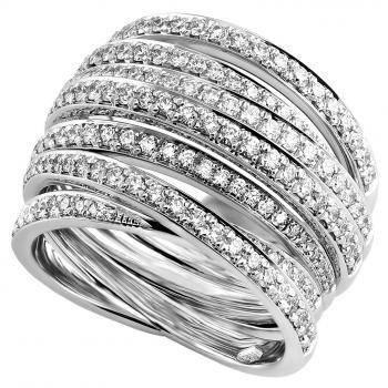 handmade pavéring with seven rounded crossed bands pavé set with brilliant cut diamonds finished with a filet or engraving