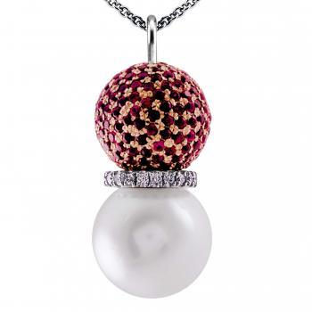 pearl earrings with brilliant-cut diamonds in between a South Sea pearl and a bead pavé set with rubies