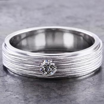 wedding ring with a wavy middle band on top american set with a brilliant cut diamond