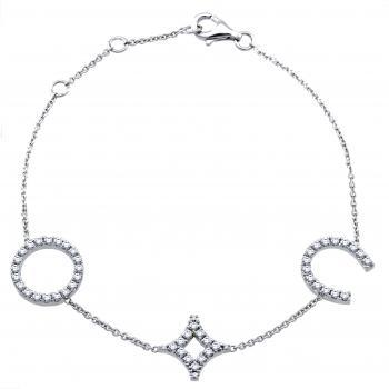 bracelet with a circle, a star and a horseshoe set with brilliant cut diamonds