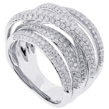 pavéring with 8 rounded crossed bands set with brilliant cut diamonds