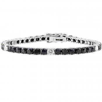 tennis bracelet with five white and the rest black brilliant cut diamonds