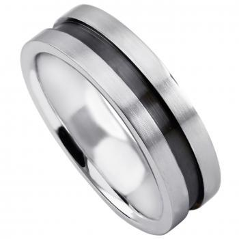 handmade wedding ring  with an engraving or gutter with a black rhodium layer inside