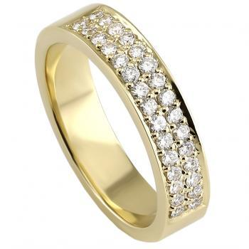 pavé ring with two rows of brilliant-cut diamonds and a fine board on the side