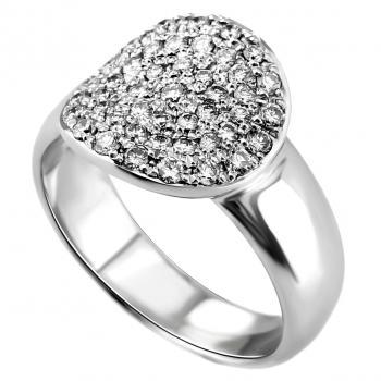 pavee ring wtih a hollowish rounded disk pavé set with brilliant cut diamonds