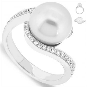 ring South Sea parel 10.5mm omarmd met briljant opzij