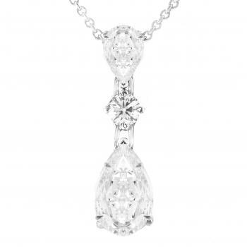 Pendant with two pear cut diamonds and round brilliant between