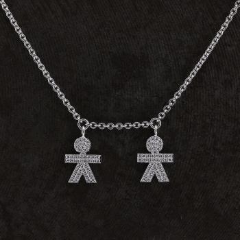 rolo necklace with twin figures or two persons set with brilliant cut diamonds finished with engraving and attached to small rings (extendable by 2 rings at 2.5cm each)