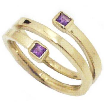 ring 18kt 2 boxes amethist