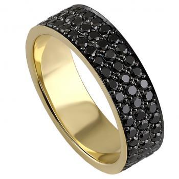wider wedding ring with three rows of black brilliant cut diamonds pavé set next to eachother and finished with black rhodium