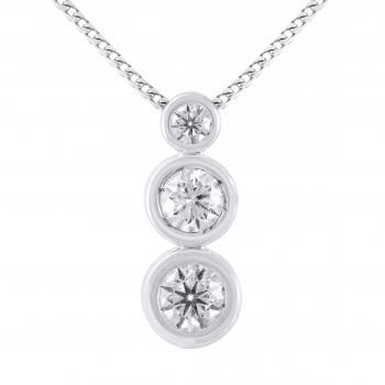 solitaire pendant with a smaller and two larger brilliant cut diamonds mounted under each other in donut shaped rings