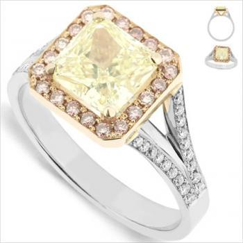 entouragering met radiant fancy yellow 2.01ct en pink opzij