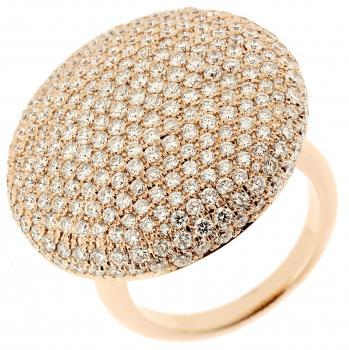 pavee ring wtih hollowish rounded disk pavé set with brilliant cut diamonds