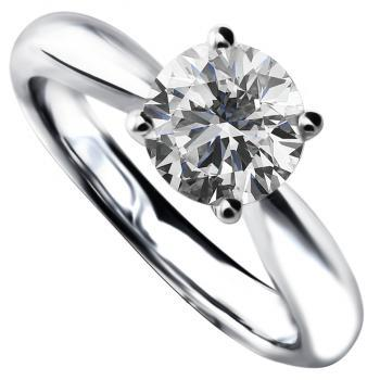 solitaire ring with a brilliant cut diamond set in four prongs without ring beneath