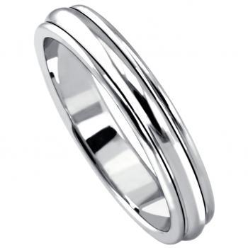 hand made wedding ring with three rounded bands and the outer bands slightly lower soldered togehter forever