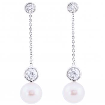 solitaire earrings with brilliant cut diamonds and a pearl pending on a thin chain