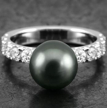 pearl ring with a Tahitian pearl on a castle set band with brilliant cut diamonds