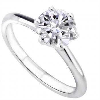 solitaire ring with a brilliant cut diamond set in 6 prongs tiffany setting