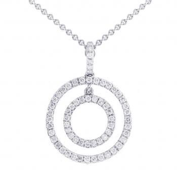 pave set circular pendant with movement